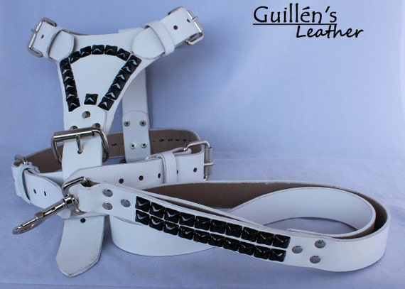 White Large Leather Dog Harness with Black Pyramids and Matching Leash