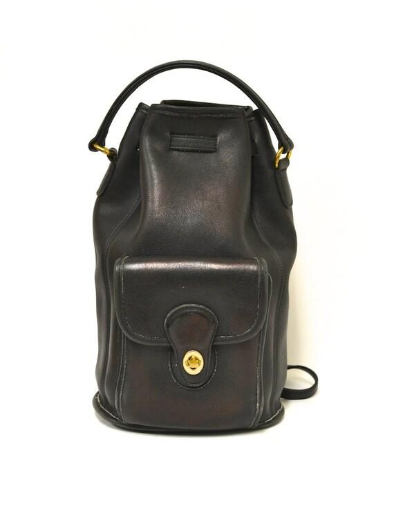 Vintage COACH Black Leather Large Bag - Drawstring Backpack - Rucksack - Convertible
