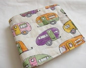needle book sewing case with felt pages retro caravan print