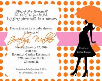 Baby Girl Polka Dot Baby Shower Invitation