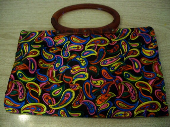 Knitting Bag 70s Psychedelic Paisley by Ladies Pride Convertible Supplies Purse 60s 70s
