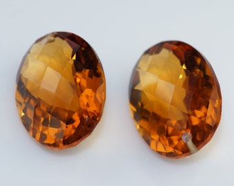 golden brown citrine one pairs drilled 18x13 mm