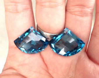 one pair london blue topaz drilled top