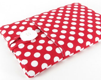 Kindle Paperwhite Case, Kindle Paperwhite Sleeve, Kindle Paperwhite Cover, Kindle Cover, Kindle Sleeve, Kindle Case - Red White Polka Dots