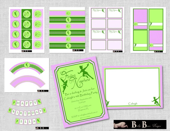Fairy Neverland Birthday Party (Green & Purple)- Printable Party Supplies
