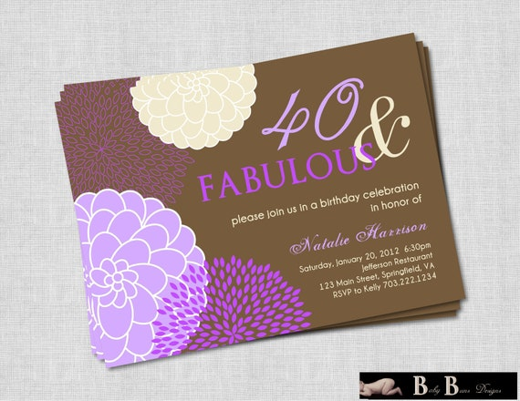 40 and Fabulous 40th (or 50th) Birthday Invitation- Purple & Brown