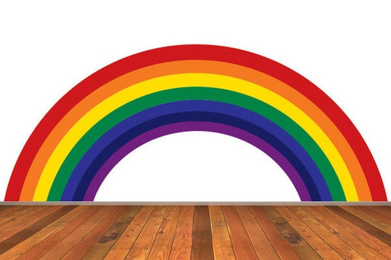 rainbow wall decal traditional colors removable reusable