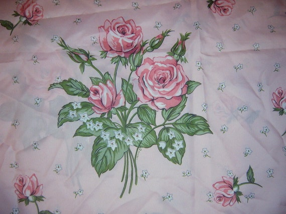 Vintage Shower Curtain, Pink, Roses, Shabby chic shower curtain.