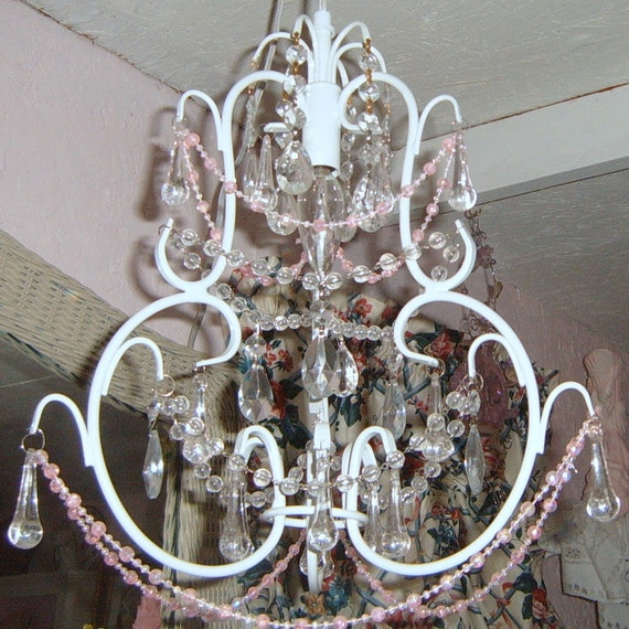 SALE  Upcycled Chandelier, White Chandelier, Shabby Chic, Cottage, Lighting, Paris Apartment, French