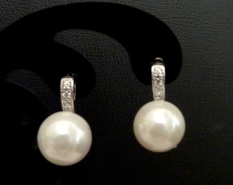 Bridal Earrings - White Round Swarovski Pearl with White Gold Plated CZ Setting Post Earrings
