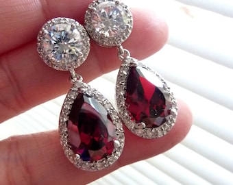 Bridal Earrings Dark Garnet Red Pear Shaped Cubic Zirconia with Round White Gold Plated Post Earrings