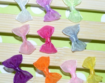 Mini  Organza bow Ribbon Craft Bows sheer organza hair bow craft DIY