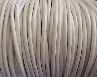 10 Yards White 2mm Leather Cord - Round