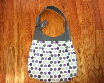 Grey and Purple Large Pleated Canvas Shoulder Bag | Polka Dot Purse | Purple and Gray | Shoulder Tote | Knitting Tote | Diaper Purse