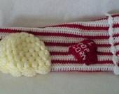 "Crocheted Baby Photo prop Box of Popcorn ""I Heart"" Popcorn"""