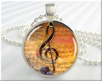Treble Clef Pendant, Musician Pendant, Musical Note Jewelry, Resin Pendant, Music Staff Necklace, Round Silver Pendant, Art Pendant (150RS)