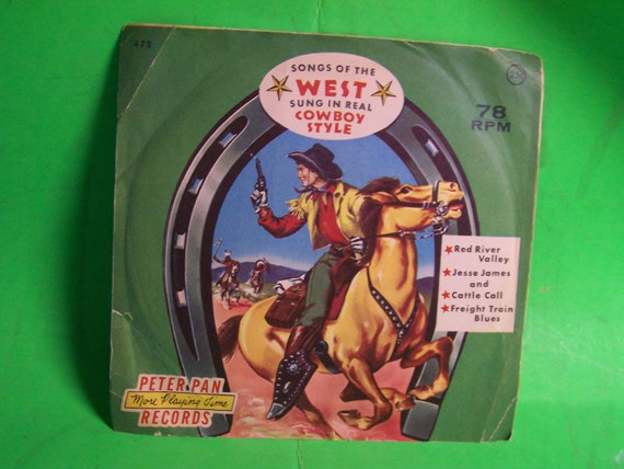 Vintage Childrens Cowboy songs  Vinyl 45 Record with sleeve -1950s Peter Pan Records ,