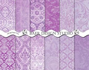 Lavender Damask Digital Paper, Junk Journal Digital Paper, Lavender Grunge Digital Paper, Papele Scrapbook, Digital Scrapbook Paper, #62116