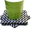 Chevron Fabric Coasters, Remix Black and White Fabric Coasters - Set of 4 - Zig Zag