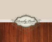 """ALL IN ONE 60"""" x 123"""" Vinyl photography Backdrop  / Baseboard, Solid Beige and Dark Red Wood Floor"""