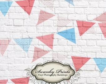 NEW ITEM 6ft x 6ft Vinyl Phogoraphy Backdrop / Red White Blue Flags Painted on White Brick