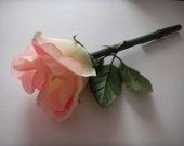 Pink Rose Flower Pen-- Black Ink