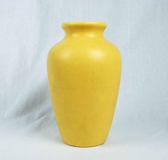 Large Yellow Vase Vintage Pottery Urn