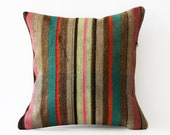 TANY SFIKA special 18/18 Vintage  Hand Woven Kilim Pillow Cover - Vintage Turkish - Accent Pillow - Decorative Pillows - Pillow Cover