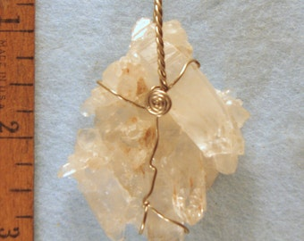 Clear Quantum Quartz Crystal Cluster with Fairy Frost & Dust Wire Wrapped Pendant