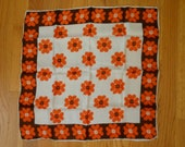 """Vintage Orange Chocolate Cream Abstract Floral Print Scarf - Made in Japan - 20.5"""" Square"""