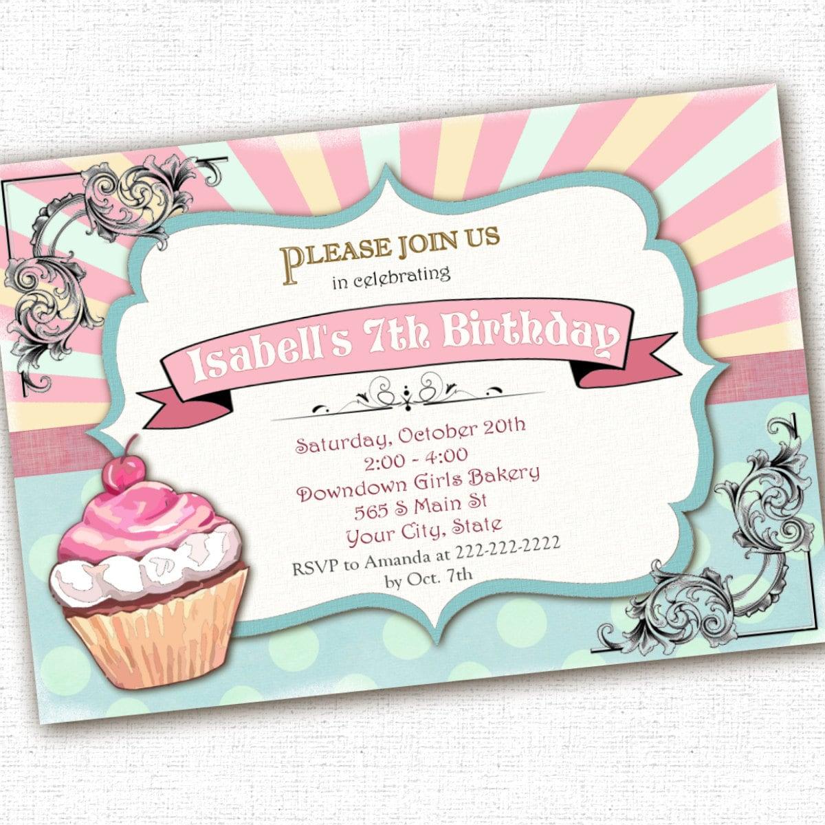Handmade cupcake birthday party invitations