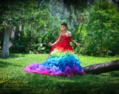 Ricky Lindsay Esperanza Haute Couture Rainbow Evening Gown Dress Spanish Formal Ball Runway Fashion Silk Exquisite