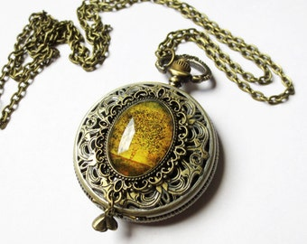 Rewritten Memories Pocket watch necklace.Christmas gift. tree necklace.