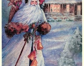 Father Christmas, Christmas Santa in his white robe Print 6 x 8 in. artist Lois Armstrong