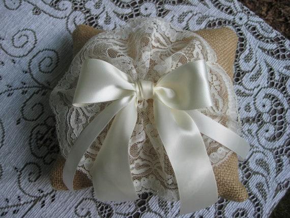 Ring Bearer Pillow Burlap Rustic Wedding Decor