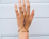 FREE SHIPPING Bracelet to ring chain with quartz point