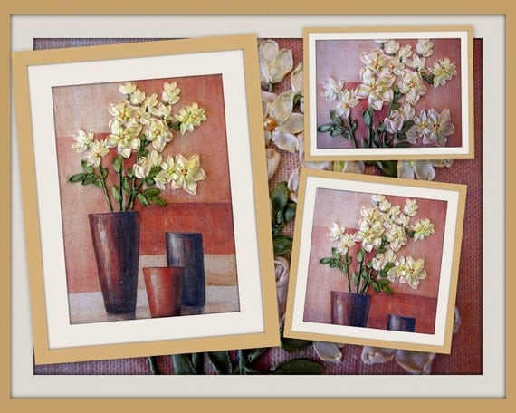 Items similar to ribbon embroidery wall art flowers in