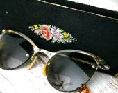 REDUCED Vintage 50s Shuron Sunglasses, Glasses, Frames and Case - 12k Gold Filled with Rhinestone Accents - Horn Rimmed Frames FREE SHIPPING