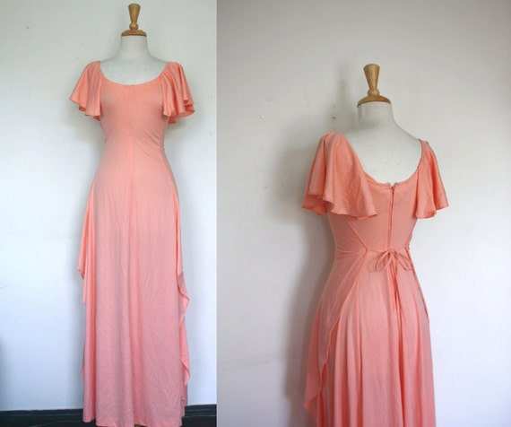 Summer Sale - 1970s Pastel Peach Maxi Ruffle Dress - Size: S / Spring Fashion