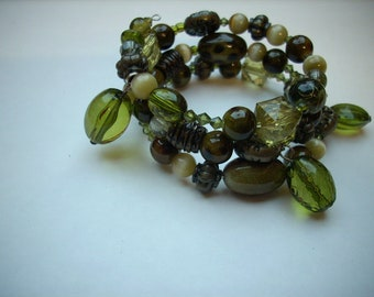 Memory wire wrapped bracelet olive green