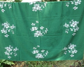 Vintage EMERALD GREEN WILENDUR Brand Tablecloth, A White and Grey Dogwood Floral Design Great For Christmas, St. Patrick's Day or Everyday
