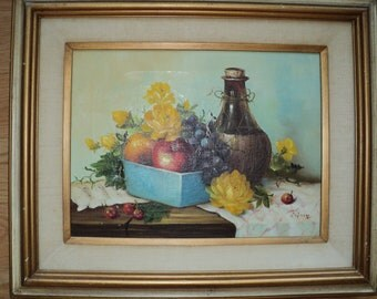 Still Life with Ripped Canvas;  Oil Painting of Wine, Fruits, Flowers on a cloth covered table in need of Repair and Restoration