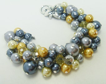 Grays and yellows pearl cluster bracelet with crystals, grey bridal jewelry, gray chunky bracelet, wedding bracelet, pearl cluster bracelet,