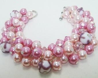 Pink Chunky Bracelet, Breast Cancer Awareness Bracelet, Pearl Cluster Bracelet, Chunky Bracelet. Breast Cancer Jewelry,Pink Pearl Bracelet
