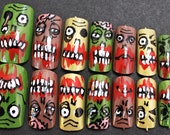 ZOMBIE hand painted acrylic stick-on nails