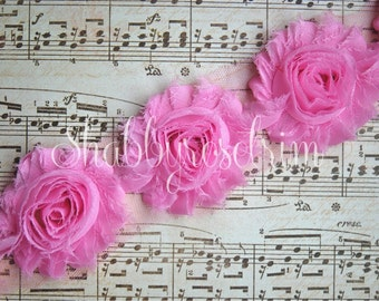 1/2 Yard Pink Chiffon Flower Shabby Rose Trim