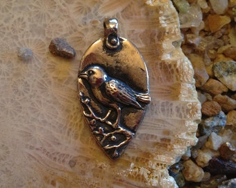 Bronze Rumi Quote Bird Pendant