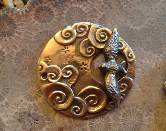 Bronze Bird and Clouds Clasp