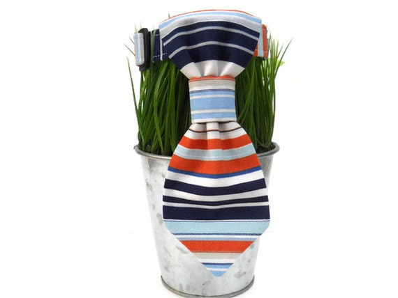 "Dog neck tie in orange, white and blue nautical stripe...""Get Preppy"" collection...."