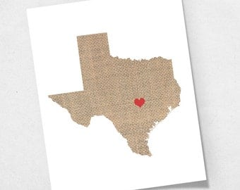Texas or ANY State Map Custom Personalized Heart Print I Love TX USA Hometown Wall Art Gift Souvenir